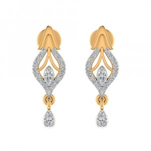 14k Yellow Gold 0.26 Cts Certified IJ/SI Diamond Drop Dangle Earring Birthday