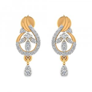 14k Yellow Real Gold 0.27 Cts Certified Natural Diamond Drop Dangle Earring
