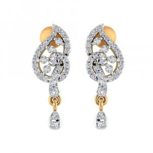 14k Yellow Solid Gold 0.43 Cts Certified Diamond Drop Dangle Modern Earring