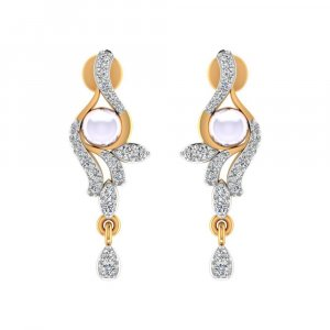 14k Yellow Gold 0.34 Cts Certified Natural Diamond Pearl Gemstone Drop Earring