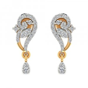14k Yellow Gold 0.31 Cts Certified Natural Diamond Drop Dangle Designer Earring