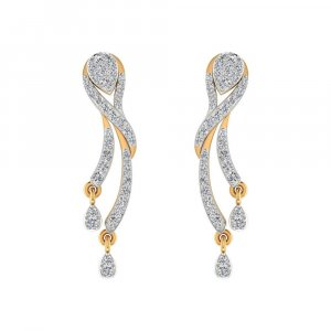 14k Yellow Real Gold 0.57 Cts Certified Diamond Drop Dangle Earring Partywear