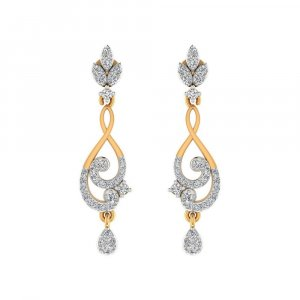 14k Yellow Gold 0.49 Cts Certified 100% Real Diamond Drop Earring Partywear