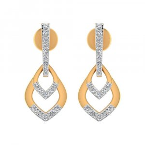 14k Yellow Real Gold 0.22Cts Certified Diamond Drop Dangle Earring Wedding