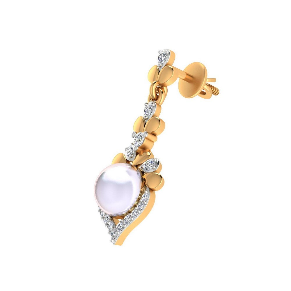0.23 Cts Certified Diamond 14k Yellow Gold Jewelry Pearl Drop Earring Wedding