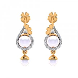 14k Yellow Solid Gold 0.22 Cts Certified Diamond Pearl Gemstone Drop Earring