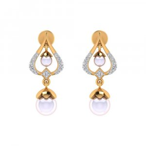 0.14Ct Certified IJ/SI Diamond Pearl 14k Yellow Gold Jewelry Drop Dangle Earring
