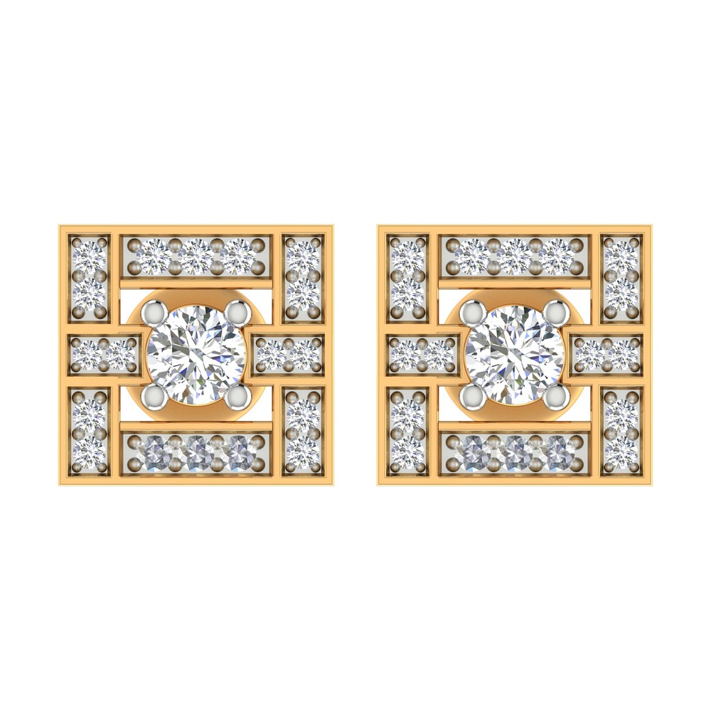 0.46Ct Certified Solitaire Diamond 14k Yellow Gold Jewelry Designer Stud Earring