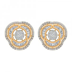 14k Yellow Hallmarked Gold 1.80 Cts Certified Diamond Stud Earring Wedding