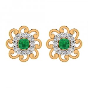 0.24Ct Certified Diamond Natural Green Onyx 14k Yellow Gold Jewelry Stud Earring