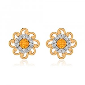 14k Yellow Solid Gold 0.24Ct Certified IJ/SI Diamond Citrine Stud Earring Gift