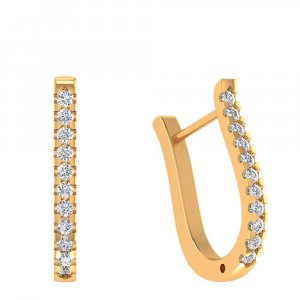 14k Yellow Gold 0.28Ct Certified IJ/SI Diamond Huggie Earring Partywear Giftable