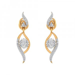 14k Yellow Solid Gold 0.44 Cts Certified Diamond Drop Earring Weddingwear