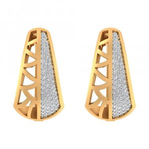 14k Yellow Gold 0.55 Cts Certified Real Diamond Huggie Earring Birthdaywear