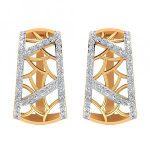 14k Yellow Gold 1.06Cts Certified IJ/SI Diamond Huggie Earring Free Shipping