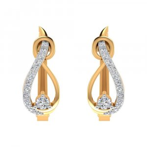 14k Yellow Solid Gold 0.33Cts Certified Diamond Huggie Earring Wedding Party