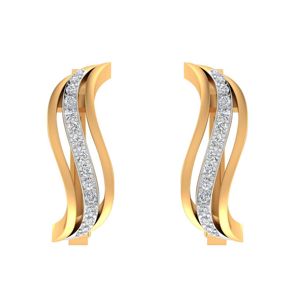0.29 Cts Certified 100% Genuine Diamond 14k Yellow Gold Huggie Earring Partywear