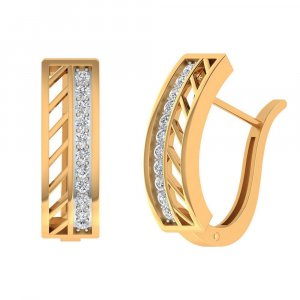 14k Yellow Real Gold 0.34 Cts Certified 100% Real Diamond Huggie Earring Gift