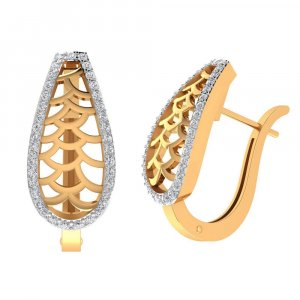 14k Yellow Gold 0.51 Ct Certified Diamond Elegant Designer Huggie Earring Party