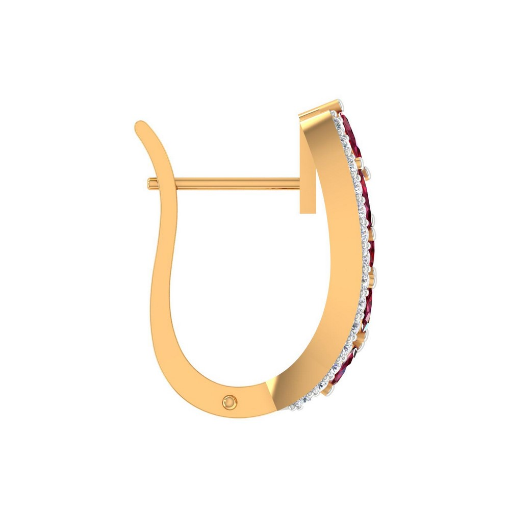 0.28Cts Certified Real Diamond Marquise Ruby 14k Yellow Gold Huggie Earring Gift