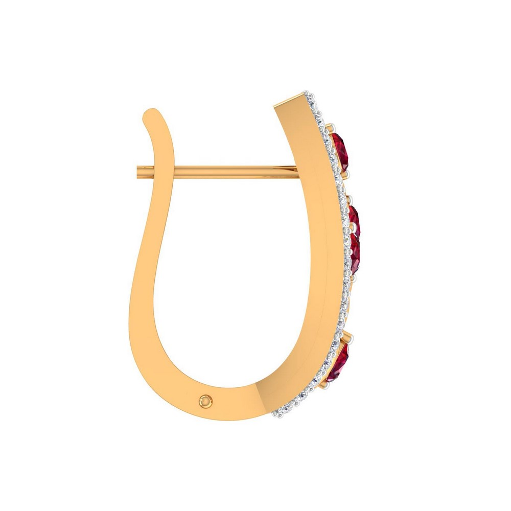 0.442 Cts Certified Diamond 14k Yellow Gold Natural Ruby Huggie Earring Giftable