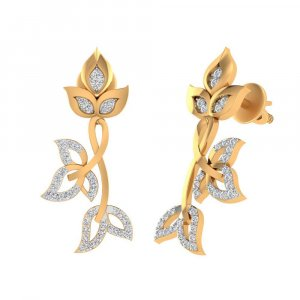 14k Yellow Hallmarked Gold 0.31 Ct Certified IJ/SI Diamond Drop Earring Party