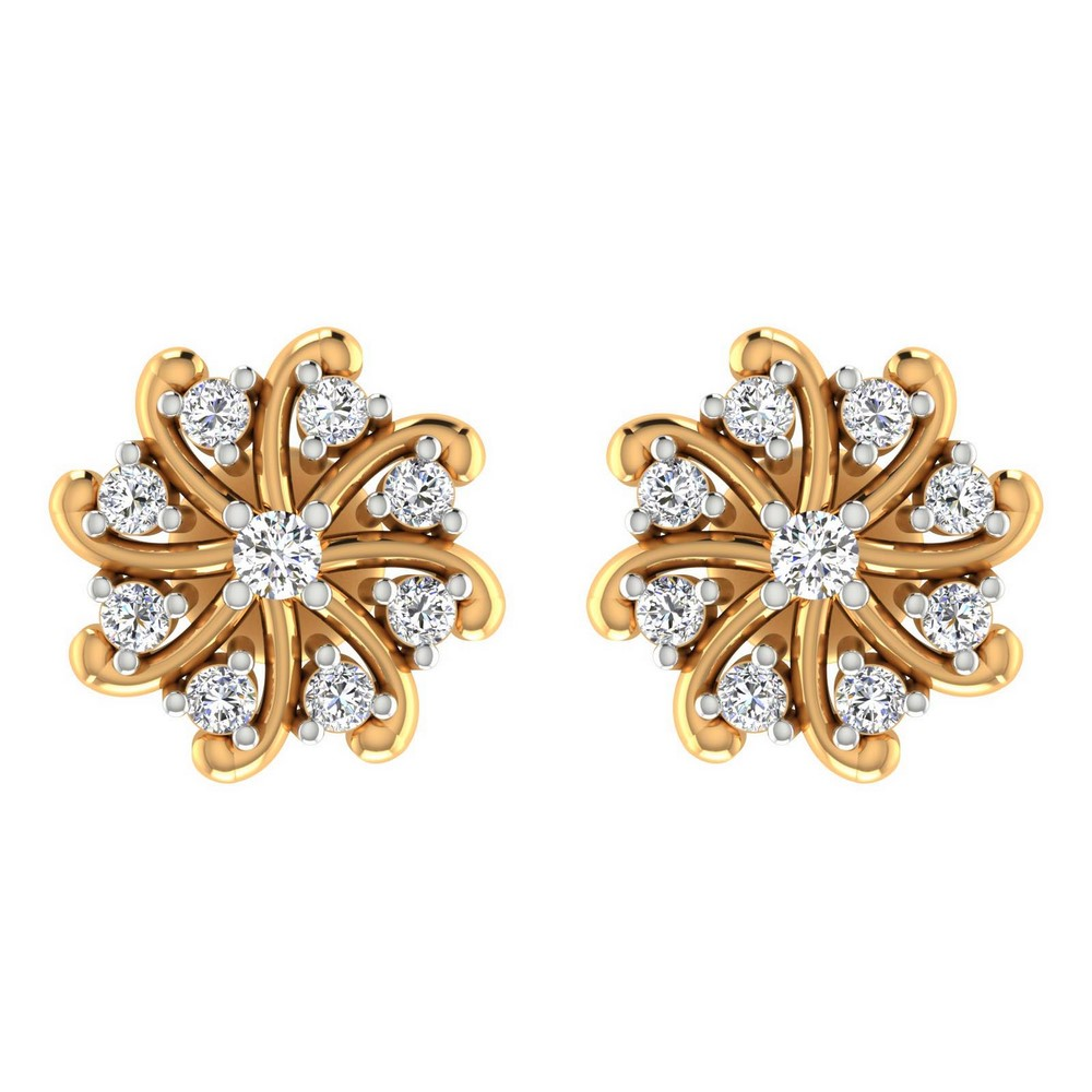 0.30Ct Certified Diamond 14k Yellow Hallmark Gold Jewelry Designer Stud Earring