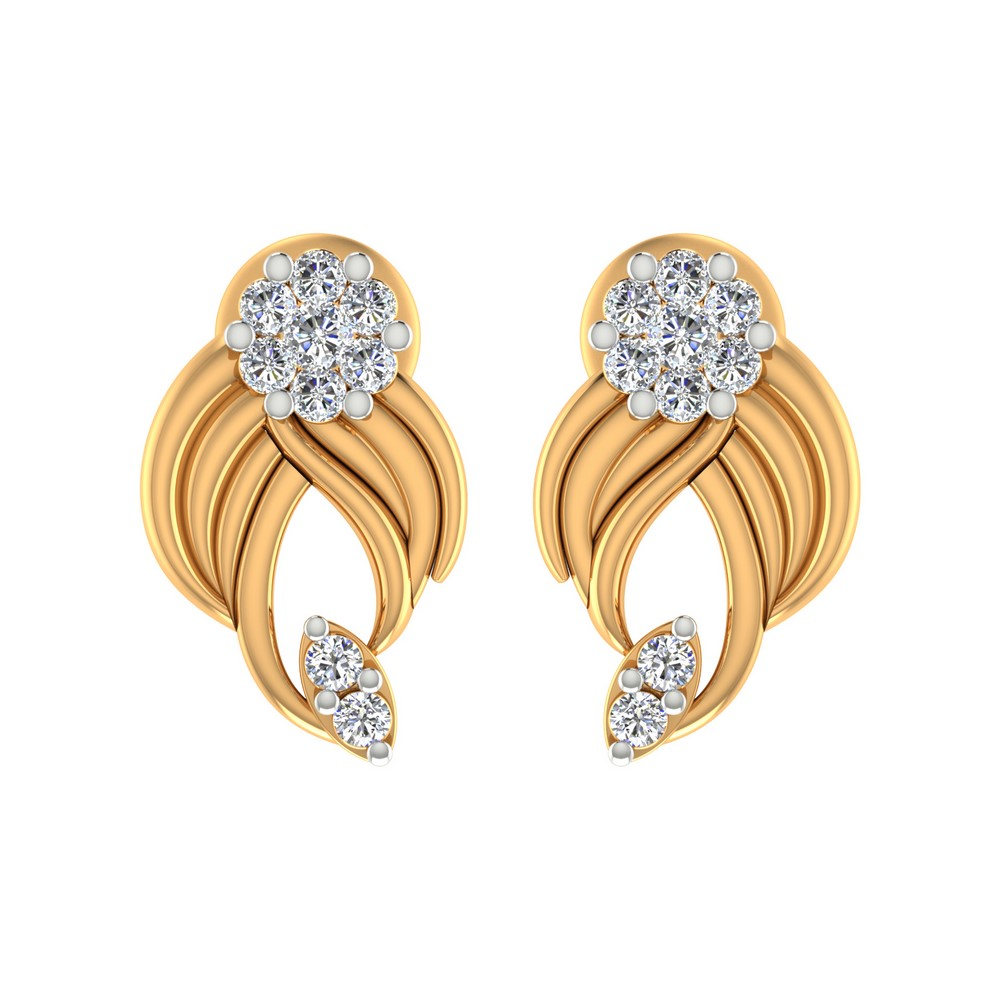 0.19Cts Certified IJ/SI Diamond 14k Yellow Gold Jewelry Fashionable Stud Earring