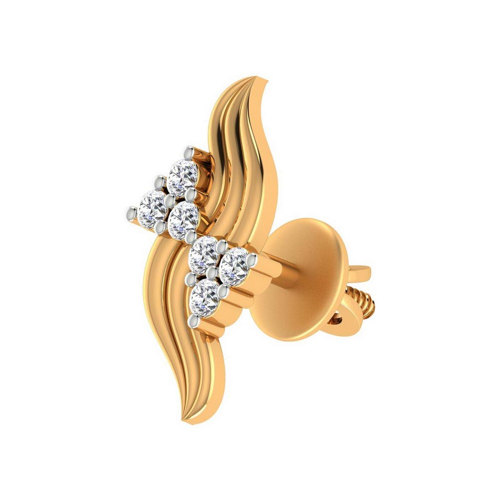 0.18 Cts Certified Diamond 14k Yellow Hallmark Gold Jewelry Stud Earring Gift
