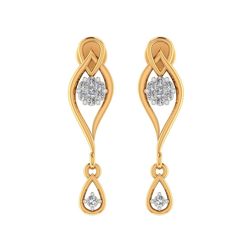 0.18Ct Certified 100% Genuine Diamond 14k Yellow Gold Jewelry Drop Earring Gift