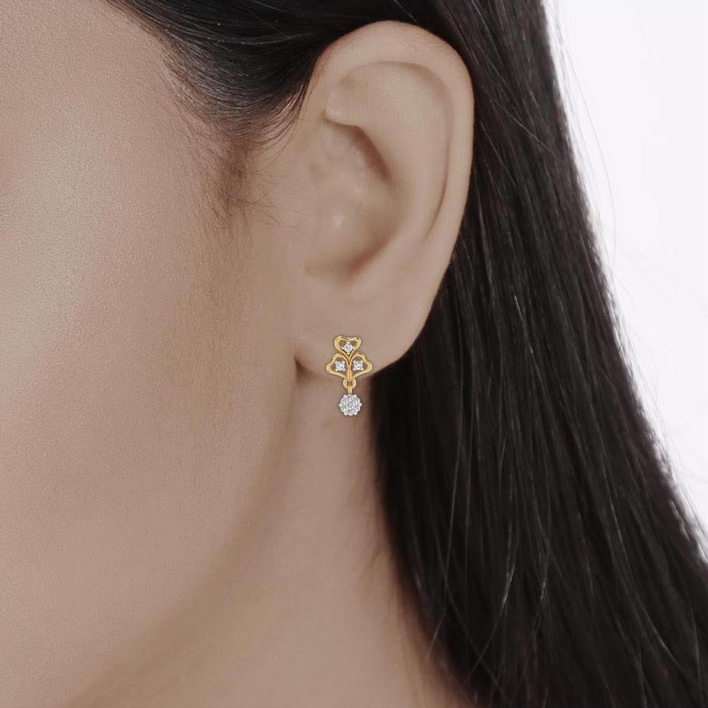 0.24 Cts Certified Diamond 14k Yellow Gold Jewelry Drop Earring Free Shipping