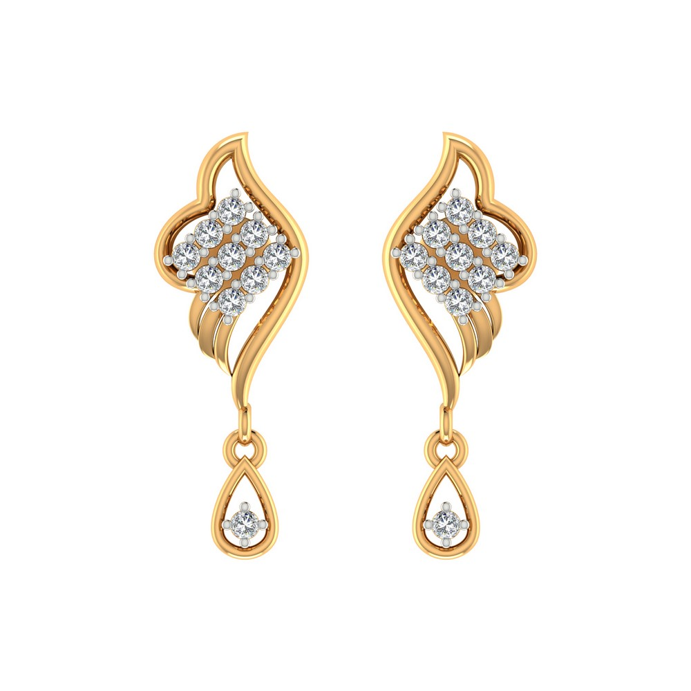 0.31Ct Certified Genuine Diamond 14k Yellow Solid Gold Jewelry Drop Earring Gift
