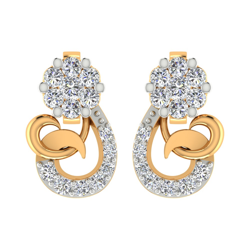 0.23 Cts Certified Diamond 14k Yellow Real Gold Jewelry Stud Earring Free Ship