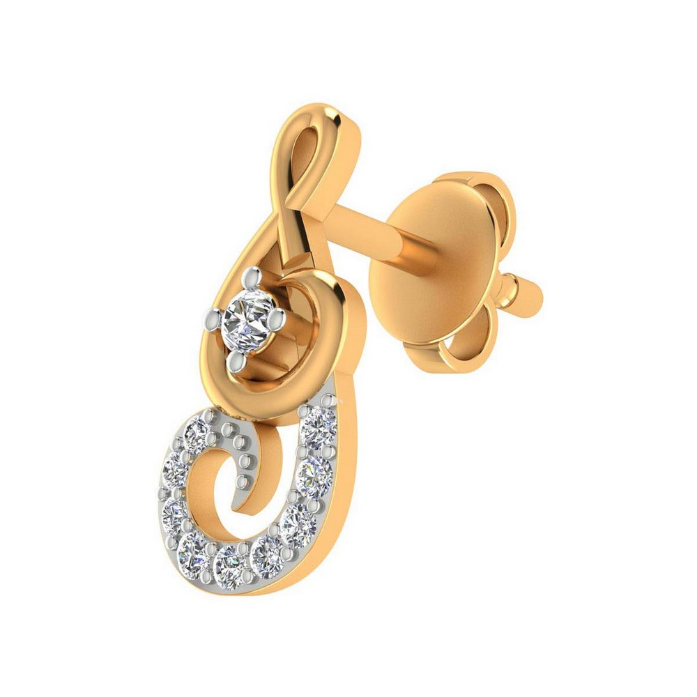 0.12 Cts Certified 100% Diamond 14k Yellow Gold Jewelry Stud Earring Giftable