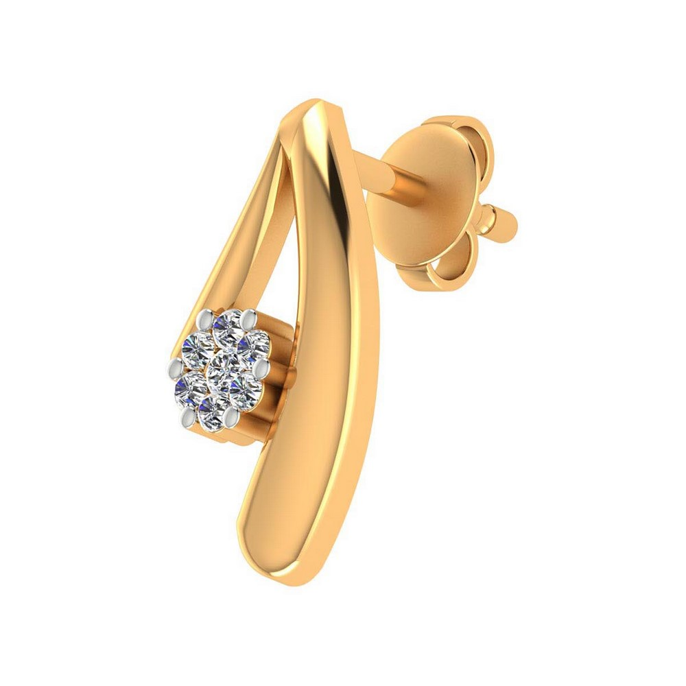 0.15 Ct Certified Diamond 14k Yellow Gold Jewelry Stud Earring Free Shipping