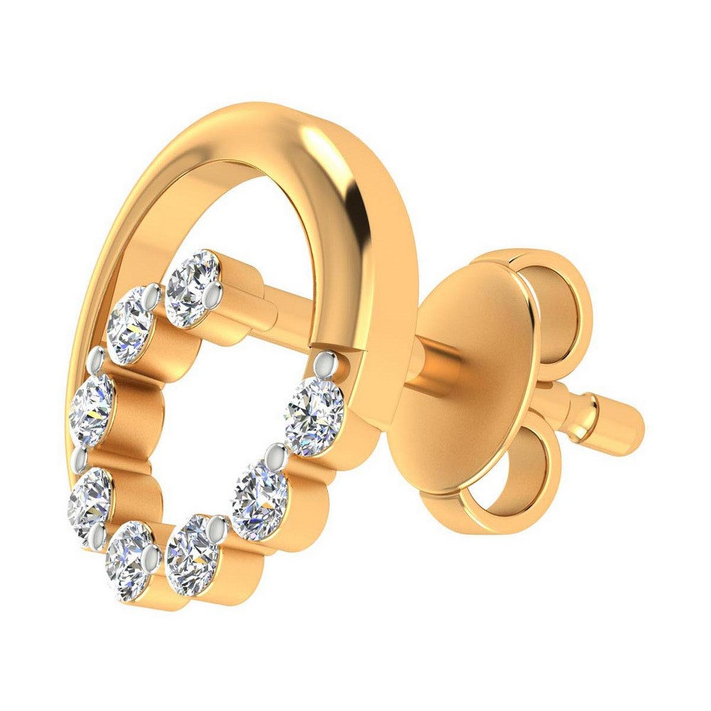 0.16 Ct Certified Real Diamond 14k Yellow Gold Jewelry Stud Earring Gift Include