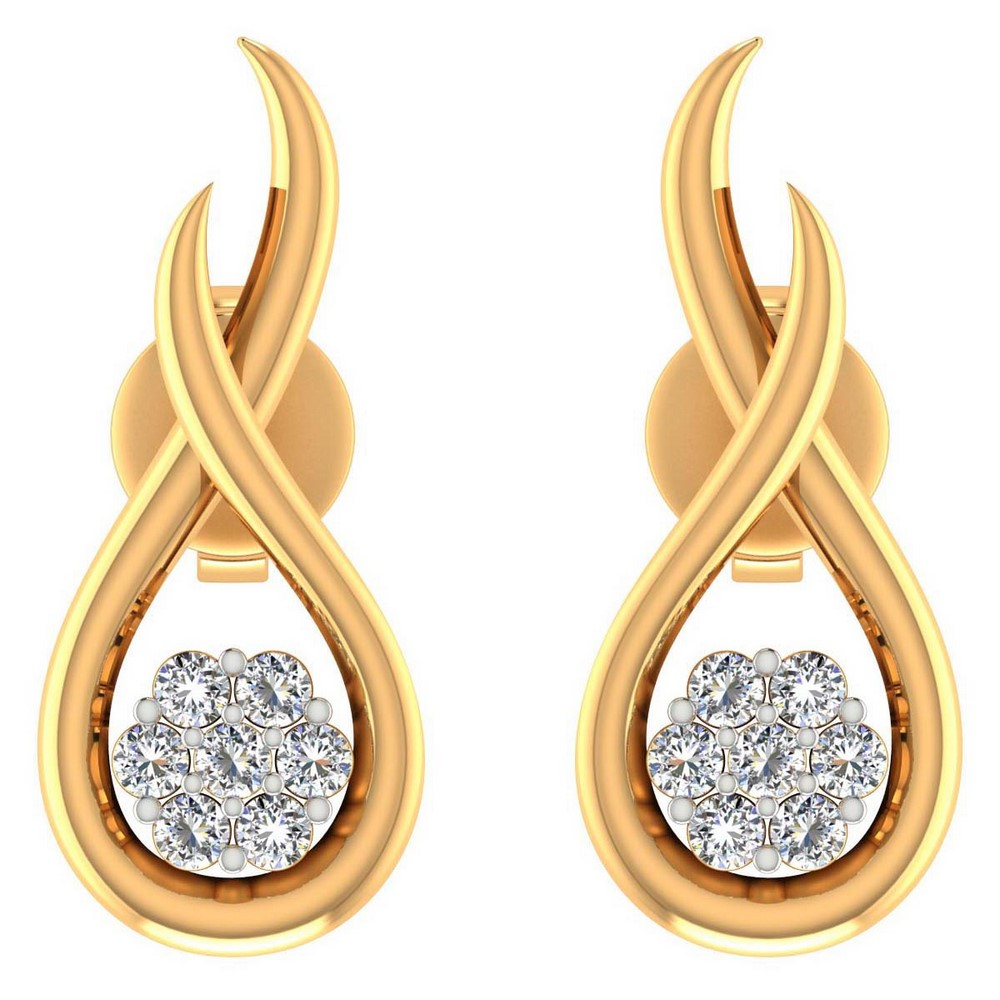 14k Yellow Gold 0.12 Ct Certified Diamond Jewelry Stud Earring Free Gift Include