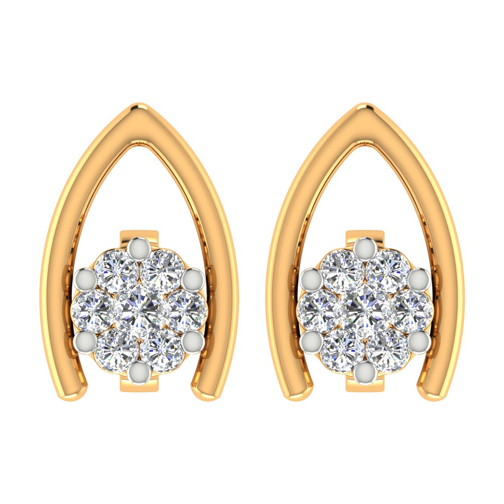 0.15 Cts Certified Diamond 14k Yellow Gold Jewelry Stud Earring Free Shipping