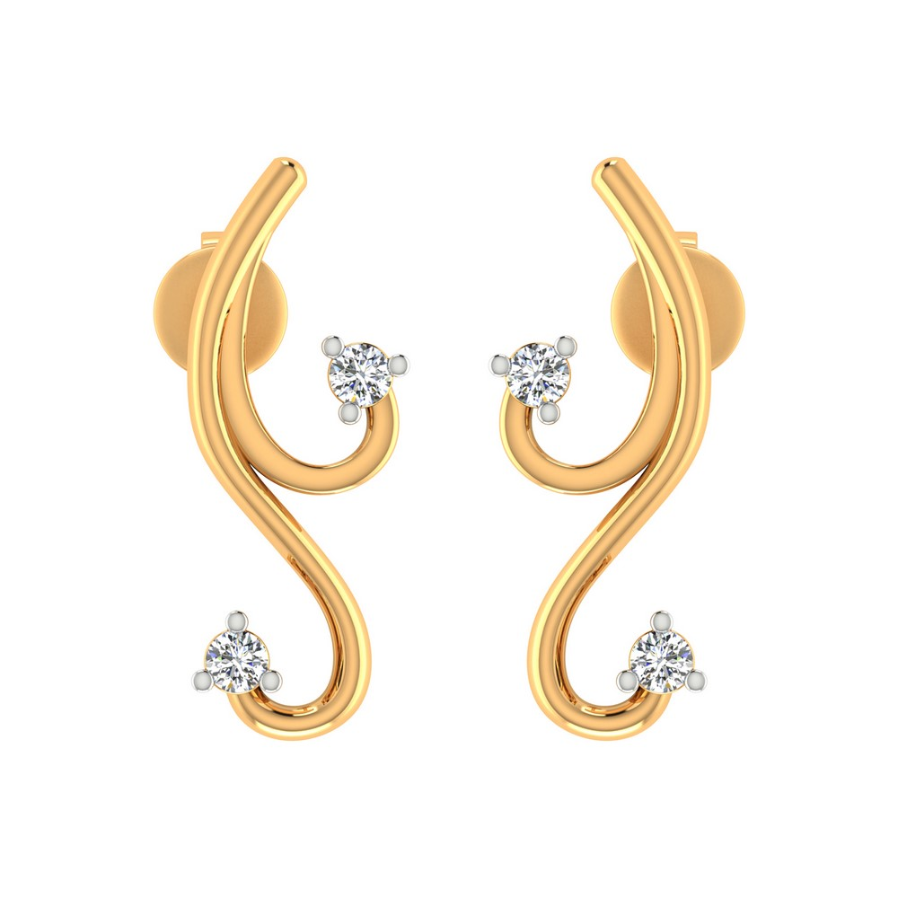 0.10 Cts Certified Diamond 14k Yellow Gold Jewelry Stud Classic Earring Gifts