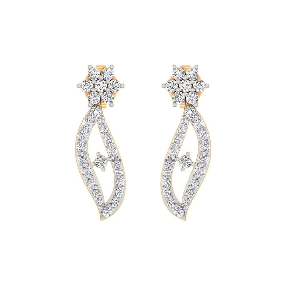0.54 Cts Certified 100% Diamond 14k Yellow Gold Jewelry Drop Earring Giftable