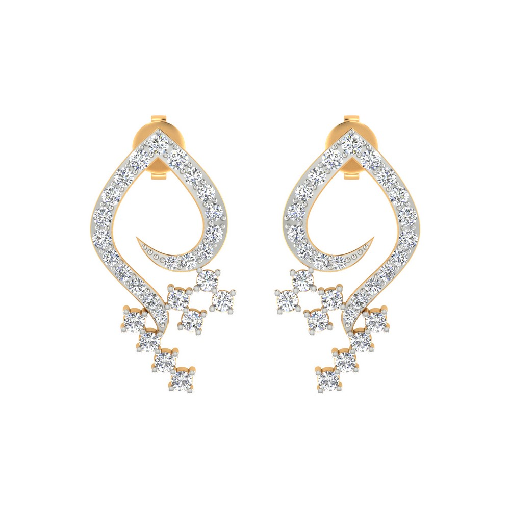 0.64 Cts Certified Natural Diamond 14k Yellow Gold Jewelry Drop Earring Party