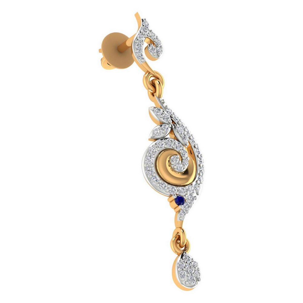 0.48 Cts Certified Diamond 14k Yellow Gold Natural Blue Sapphire Drop Earring