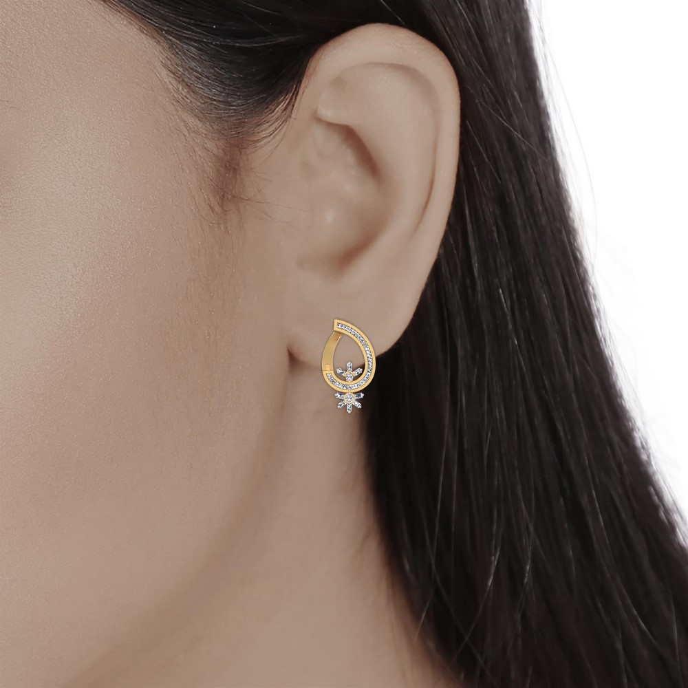 0.93 Cts Certified Diamond 14k Yellow Gold Brand New Drop Earring Free Gift