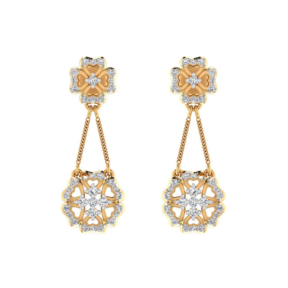 0.66 Cts Certified Natural Diamond 14k Yellow Hallmarked Gold Drop Earring Gift