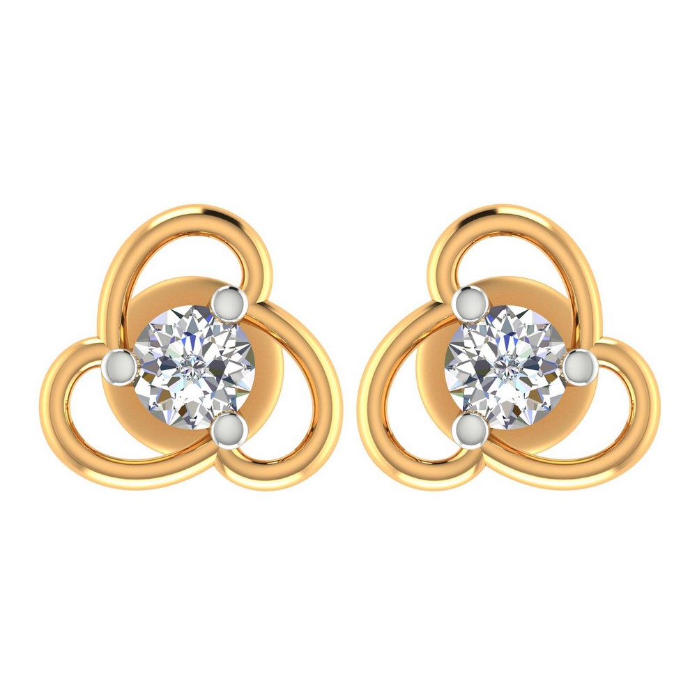 0.22 Cts Certified Real Diamond 14k Yellow Gold Jewelry Stud Earring Partywear