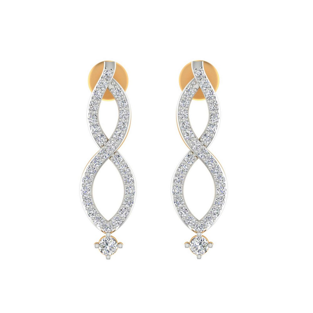 0.45 Cts Certified 100% Genuine Diamond 14k Yellow Gold Jewelry Drop Earring