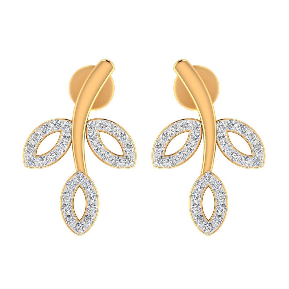 0.46 Cts Certified Natural Diamond 14k Yellow Real Gold Drop Earring Giftable
