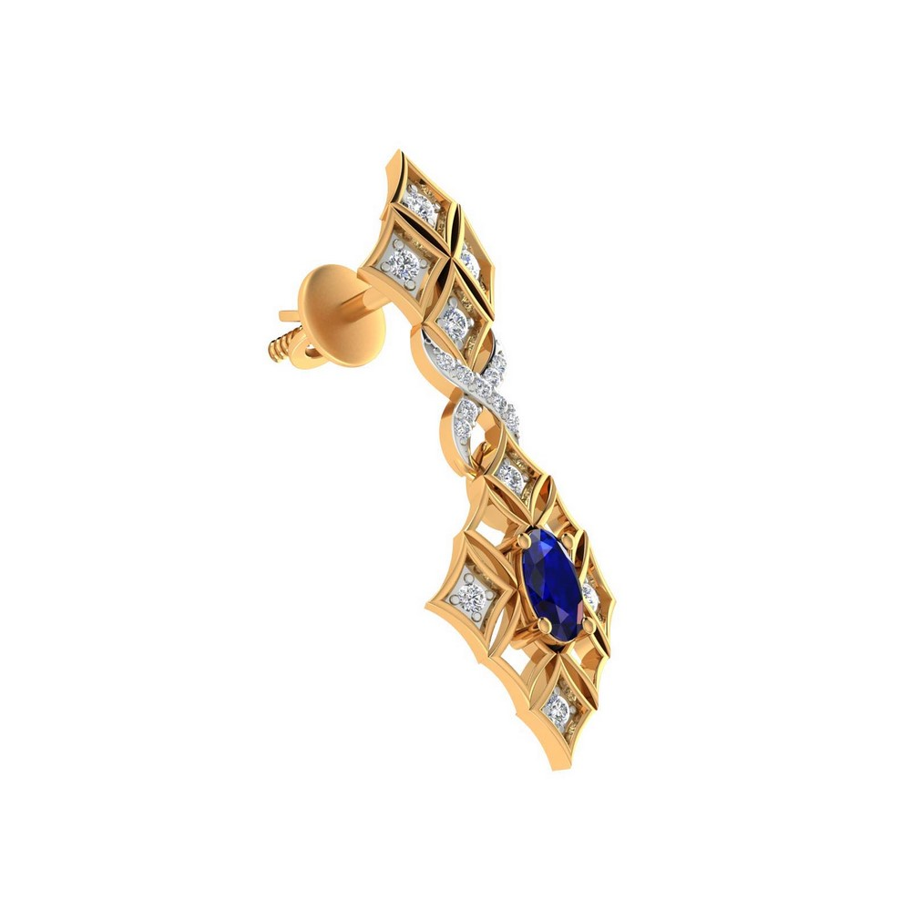 0.26 Cts Certified Diamond 14k Yellow Gold Jewelry Blue Sapphire Drop Earring