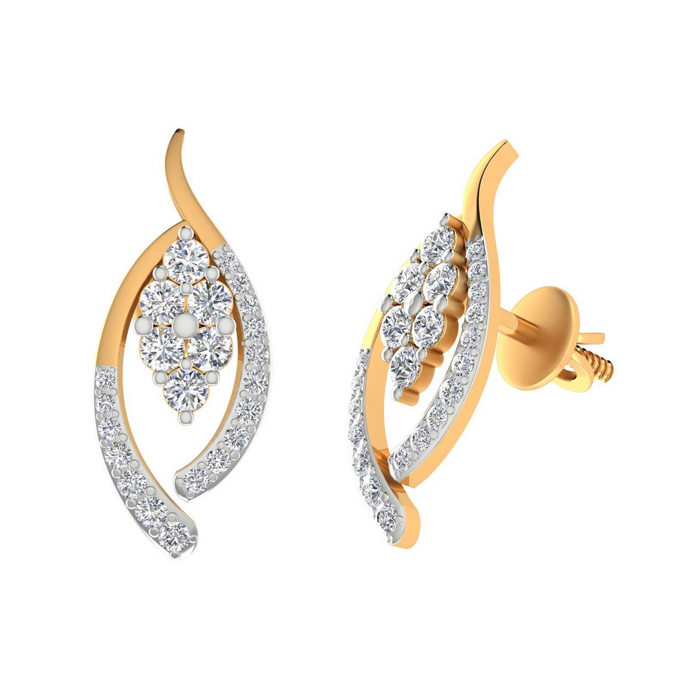 0.54 Cts Certified Diamond 14k Yellow Real Gold Stud Earring Free Gift Included