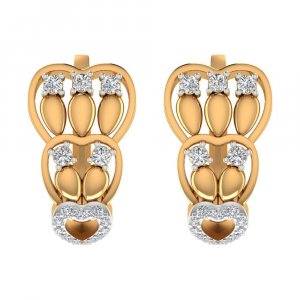 0.59 Cts Certified Diamond 14k Yellow Hallmark Gold Huggie Earring Party Gift